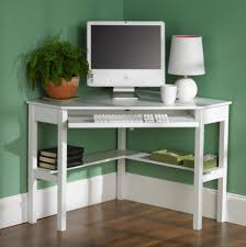 stylish home office desks. Green Home Office Ideas With Small White Corner Desk And Cute Table Lamp Stylish Desks