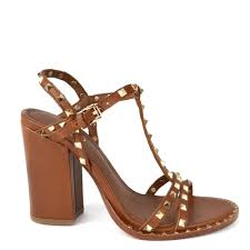 ash lips studded heeled sandals brown leather