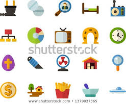 Chart House Easter Color Flat Icon Set Easter Egg Stock Vector Royalty Free