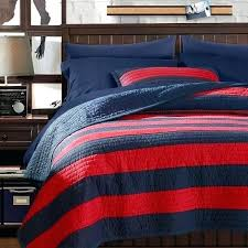 blue and red rugby stripe bedding quilt n approved sham navy