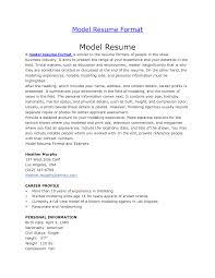 Brilliant Ideas Of Modeling Resume Format Perfect Model Resume