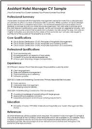 Resume For Hospitality Adorable Assistant Hotel Manager Resume CV Hotel Manager Resume If You