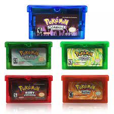 32 Bit Video Game Cartridge Console Card for Nintendo GBA Pokemon Emerald  FireRed LeafGreen Ruby Sapphire with Shiny Label Game Collection Cards