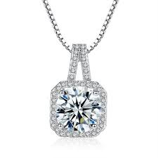 cubic zirconia pendant necklace 2ct round cut clear crystal white
