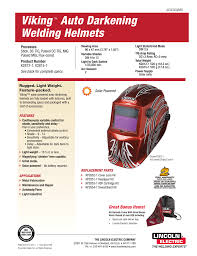 Lincoln Welding Helmet Light Kit Viking Auto Darkening Welding Helmets Manualzz Com