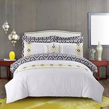 new seaon s home 7 piece vieno duvet cover set in white yellow