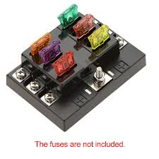 aliexpress com buy universal 6 way circuit car fuse box holder aliexpress com buy universal 6 way circuit car fuse box holder 32v dc waterproof blade fuse holder block for auto car boat high quality terminal from