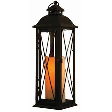Candle Lights Home Depot Smart Design Siena 16 In Antique Brown Led Lantern With Timer Candle