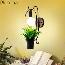 <b>Nordic Plant Wall Lamp</b> Led Wall Sconce Flowers Metal Lights for ...