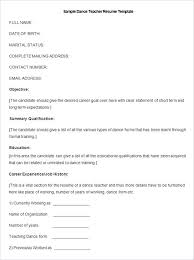 Resume Free Template Dance Teacher Resume Dancing Job Description Example Sample Free ...