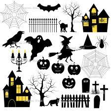halloween silhouette clip art set
