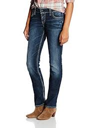 Silver Jeans Co Womens Suki Mid Rise Well Defined Curve Mid Straight Jeans In Indigo Indigo 29 32