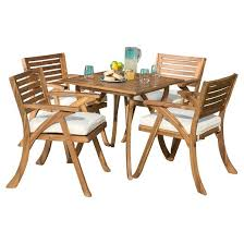 Hermosa 5pc Acacia Wood Patio Dining Set with Cushions Teak
