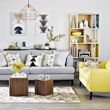 Yellow And Grey Living Room Living Room Yellow And Grey Living Room With Geometric Prints