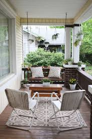 front porch furniture ideas. Would Love To Have A Comfy Front Porch Like This! Source List: Rug/Target, Chairs/Thifted, Coffee Table/Flea Market Find, Pillows/DIY, Plant Stand/Flea Furniture Ideas P