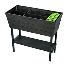 keter urban bloomer 224 gallon resin plastic wood look elevated raised patio garden flower planter bed elevated garden planters p93