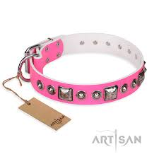 juicy pink rottweiler studded leather dog collar with decorations