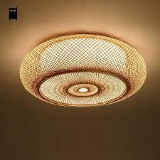 ceiling lamp shade hand woven bamboo wicker rattan round lantern light fixture rustic shades argos