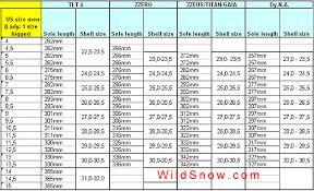 Backcountry Ski Size Chart 11 Timeless Ski Boot Conversion