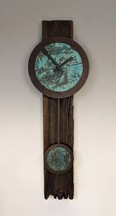 barn wood clock with blue green copper