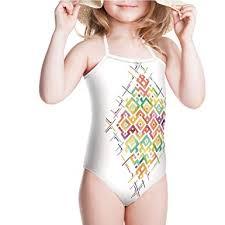 Amazon Com Iprint Swimsuit For Girls Pattern Zigzag Asian