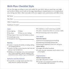 Free Birth Plan Templates Checklist For Birth Plan Zlatan Fontanacountryinn Com