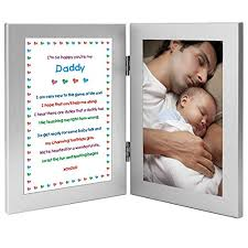 daddy gift from newborn new dad sweet poem in double frame add photo