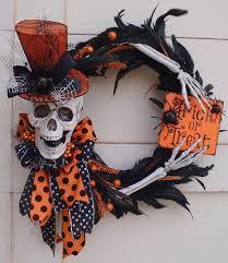 Halloween Skeleton Wreath, Skeleton wreath, trick or treat wreath, Halloween  wreath, spider wreath, skull wreath, orange and black wreath