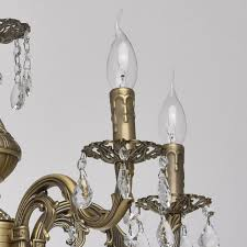 interior view classic 5 arm pendant chandelier in antique brass with crystal drops save