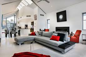 Adorable Red Accents Decorating Ideas In 2013 With Beautiful Modern Kitchen  And Modern Living Room With Red Nuances Grey Sofa Red Sofa Red Sofa Cushion  ...