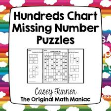 Hundreds Chart Missing Number Puzzles Numbers 101 999