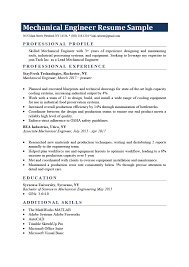 Engineering Skills Resume Mechanical Engineer Resume Sample Writing Tips Resume Genius