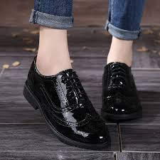 whole 2018 genuine leather women shoes brogues lace up flat heels round toe patent leather black oxfords women casual shoes direct from china