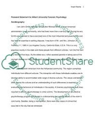 Psychology Personal Statement Example Personal Statement For Alliant University Foresnic Psychology