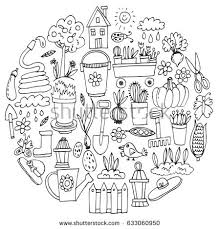 Small Picture Big Set Handdrawn Vintage Sketch Garden Stock Vector 371868361