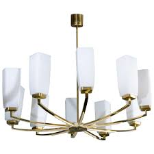 mid century brass white bakelite and opaline glass chandelier for