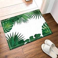 banana leaf shaped rug palm tree bath rugs tropical leaves accent plants trees non slip floor banana leaf round rug