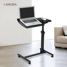 langria portable rolling laptop cart mobile desk notebook with angle and height adjule split top side table dark walnut com