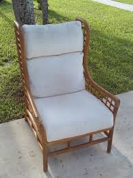 vintage mid century bamboo rattan wing back chair 1 of 10only 1 available