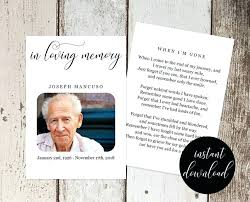 Funeral Remembrance Cards In Memoriam Cards Template Emmaplays Co