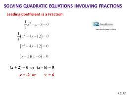 solving quadratic equations involving fractions