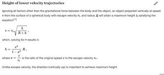 escape velocity equation. from wiki. escape velocity equation t