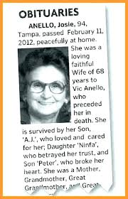 Obituary Template For Newspaper Infekt Me