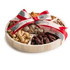 holiday wooden 6 section round nut tray large corporate basket red ribbon
