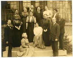 A photograph showing early leaders of the settlement house ...