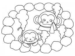 温泉に入るお猿さんのぬりえ線画イラスト素材 イラスト無料