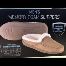 Men S Sharper Image Memory Foam Slippers Size M Nwt