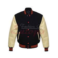 wool varsity letterman jacket black w cream leather sleeves 25 1