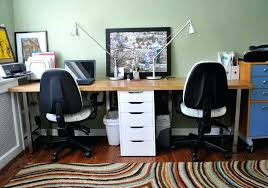 two person office desk. Computer Desk For Two People Person Office With Drawers In The Center A Blue . T