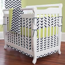 navy and citron zig zag mini crib bedding